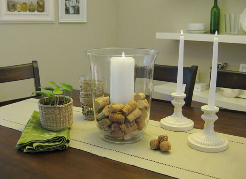 we used wine corks and soft candlelight for a romantic dining room