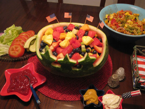 We made a fun little watermelon centerpiece for the th of