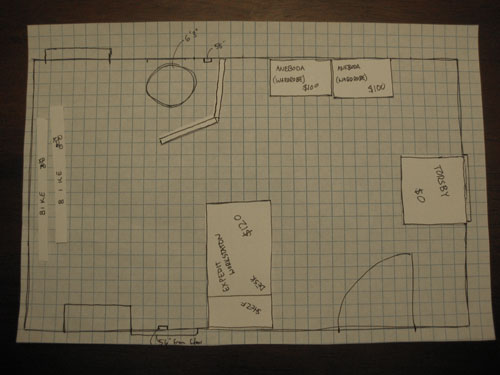 Create a to scale sketch with graph paper to make space for Room planning grid