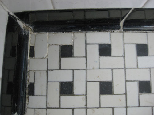 Sadly After Over Fifty Years Of Use The Once Wonderful Black And White Basketweave Floor Tiles Are Cracked Stained And Worn Down Beyond Repairu2026