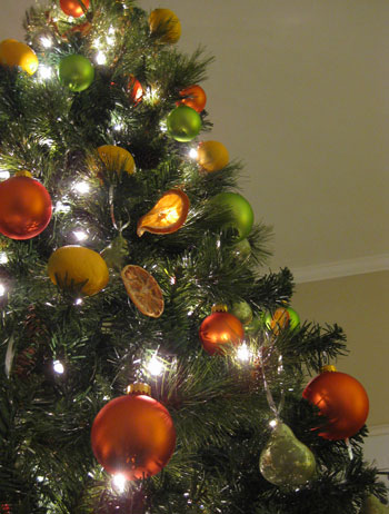 so thats the tree decorating rundown for ya complete with all of the homemade ornaments that we fashioned from things like vase filler faux fruit and - Orange Christmas Tree Decorations
