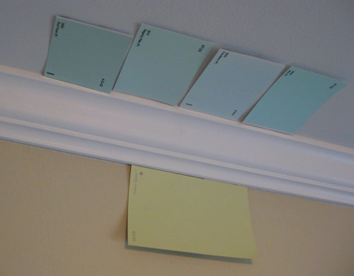 pear green walls a light blue ceiling for the nursery young house