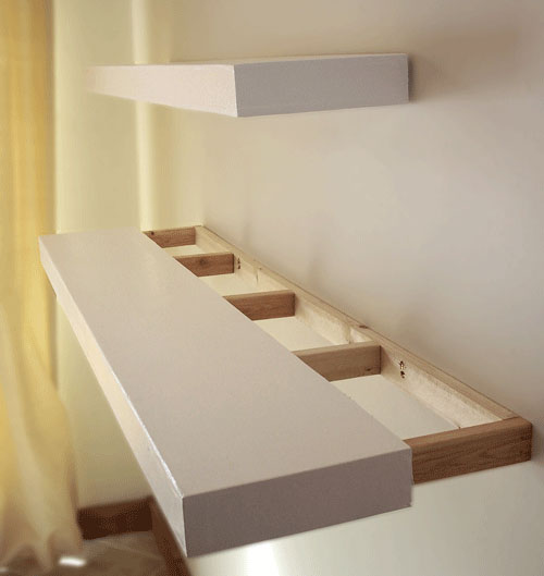 wood shelf box sliding over frame hung on wall to create DIY floating  shelves in the