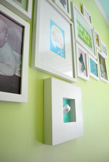 nursery wall frame collage on bright green wall for gender neutral nursery