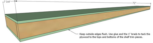 3D buidling plans for adding face trim to DIY floating shelves from Ana White tutorial