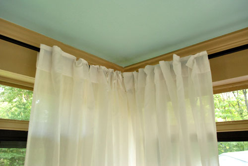 How To Hang Corner Curtain Rods (u0026 Painting The Ceiling Blue) : Young House Love