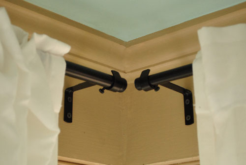 How To Hang Corner Curtain Rods Amp Painting The Ceiling