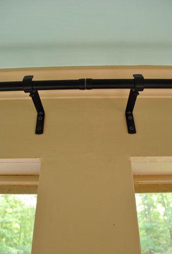 How To Hang Corner Curtain Rods (& Painting The Ceiling Blue ...