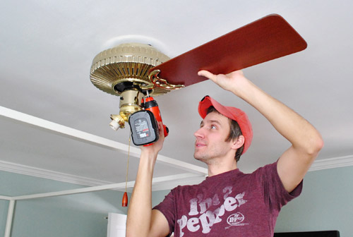 Installing outdoor fans young house love generally weve had 75 to 8 ceilings in most rooms with them and being 6 tall ive always felt like they were low hanging oversized pinwheels that were aloadofball Image collections