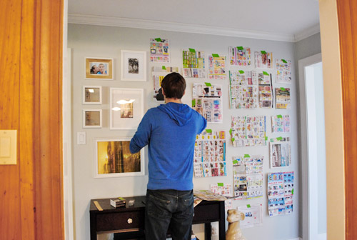 Using Paper Templates To Create A Giant Wall To Wall Frame