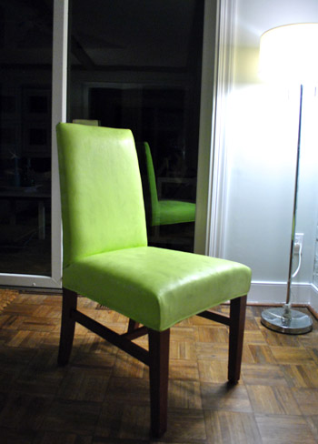 (Spray Painting Upholstered Chairs)