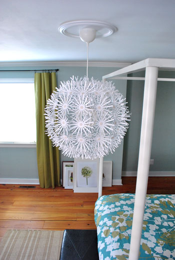 hanging an ikea maskros light in our bedroom young house. Black Bedroom Furniture Sets. Home Design Ideas