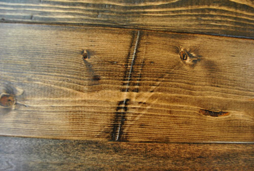 what long dent added to new wood looks like after staining with medium wood  stain - How To Distress Wood (Video & Photos) Young House Love
