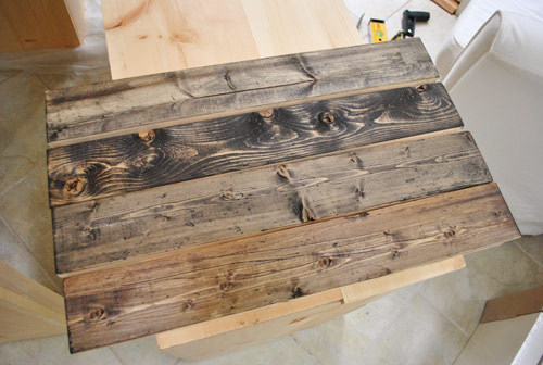 using wood stain to make new boards look old and reclaimed