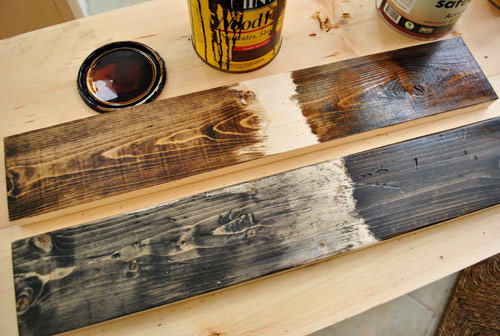 stain color options on new wood boards using Mixwax Dark Walnut and Ebony stain colors