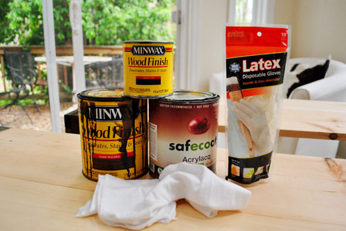wood staining supplies including Minwax Wood finish, rags, latex gloves, and eco friendly sealer