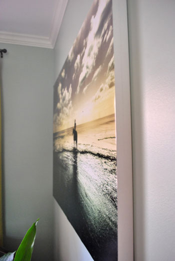 using acrylic medium to glue a large print to a canvas young house