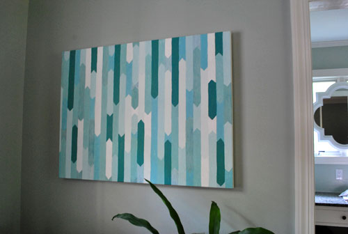 Blue Canvas Art Diy: How To Make A Simple Geometric Canvas Painting
