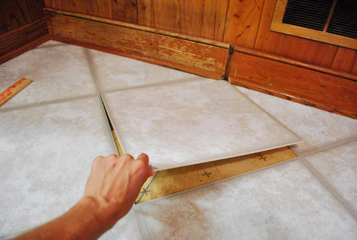 Removing Cabinets Amp Patching A Vinyl Floor Tile Young