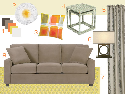 Mood board making a neutral living room with citrus for Accent colors for neutral rooms