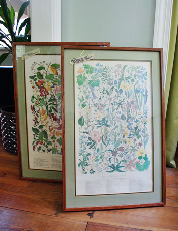 painting picture frames. We immediately thought the extra tall shape of frames would be perfect  for either side our bed above glass based lamps on makeshift Updating Old Yard Sale Prints With Spray Painted Frames And Mats