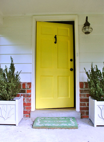 How to paint your front door young house love for Front door yellow paint
