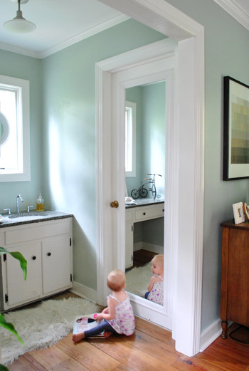 Bathroom Mirror Door framing out a mirror that's mounted on a door | young house love