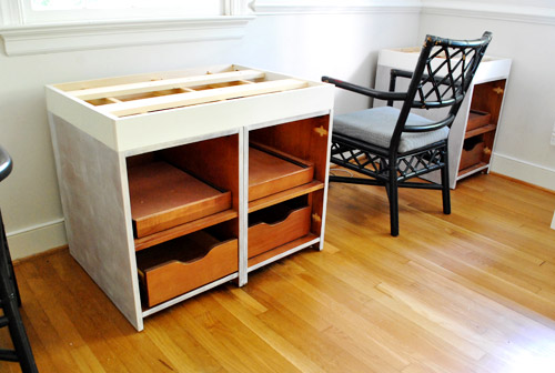 a big desk with secondhand cabinets house
