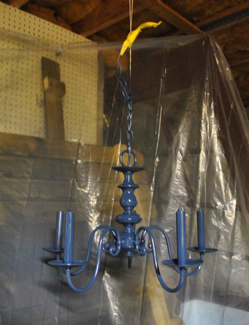 Upgrading an old chandelier with paint a new shade young house love aloadofball