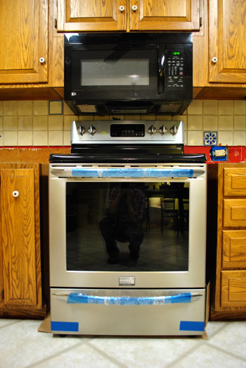 And When We Took Down The Kitchen S Original Black Over Range Microwave Which Was Just As Wide Our Oven 30 Whole Inches