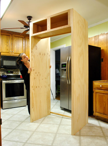How To Build In Your Fridge With A Cabinet On Top | Young House Love