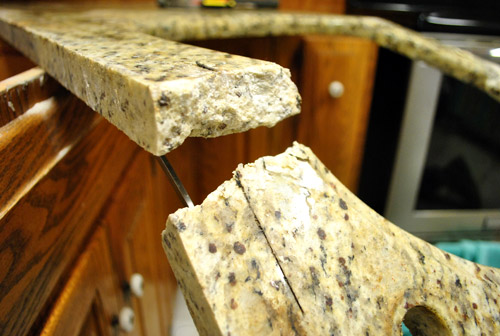 Kitchen reno removing our sink our old granite counters for How to support granite overhang