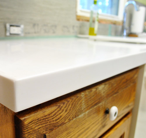 Our white corian counters are in and we love them for Corian countertops
