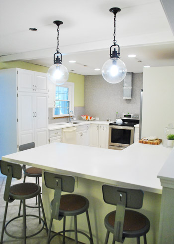 Hanging Two Oversized Glass Kitchen Pendants Young House Love - Pendant lighting over kitchen peninsula