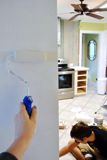 paint kitchen cabinets foam roller