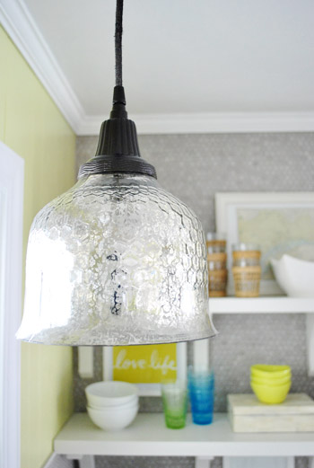 How to spray paint a pendant light 39 s cord canopy young for Over the kitchen sink pendant lights