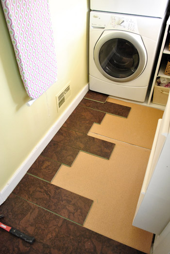Completing our kitchen 39 s cork floor installation young for Laundry room floor ideas