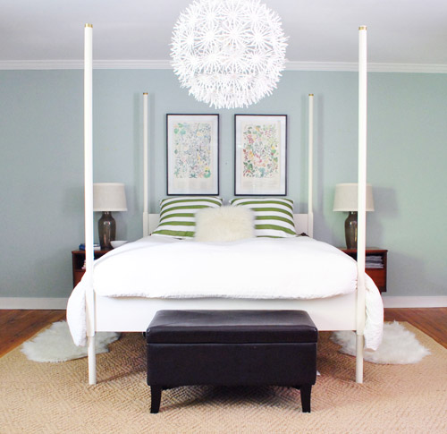 Spacing out and hanging two pictures over the bed young - What to hang over bed ...