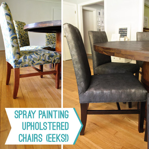 Remember these Craigslist chairs we found last March? They were originally from an old hotel (with faded and stained eighties fabric to prove it) but we got ... & You Did What Now? (Spray Painting Upholstered Chairs) | Young House Love