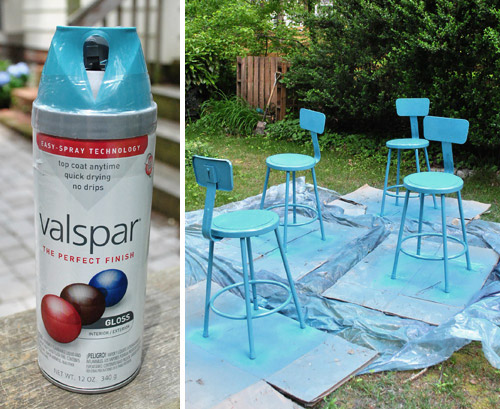 Spray painting metal kitchen stools a happy turquoise color young house love Spray paint for metal