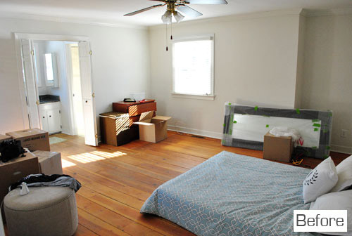 And Heres The Master Bedroom After We Got A New Bed Switched Out Light Fixture Hung Some Free DIY Art Rug Made Headboard Repainted It