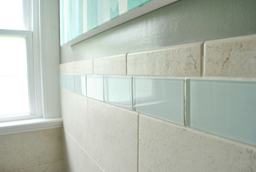 Replacing Old Shower Border Tiles Young House Love - Clear glass tiles 4x4