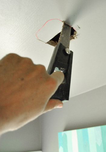 How to move a ceiling light to center it young house love up the energy to hunt down since the mutlimax wouldnt cut the rounded corners as well to put a bigger fixture boxed sized hole in the ceiling aloadofball Choice Image