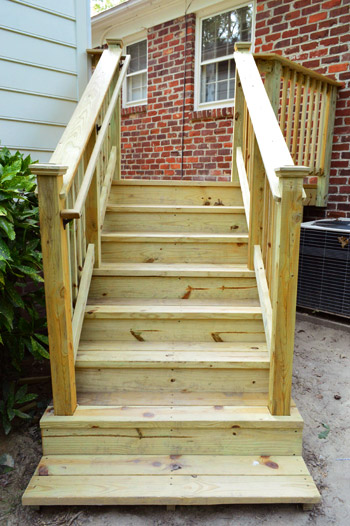 How to build a deck it 39 s done young house love for Deck stairs pictures