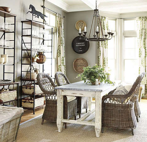 Some rustic woven chairs for the dining room young house for Ballard designs dining room
