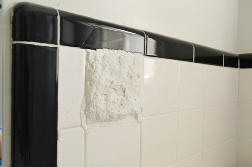 How To Hide Old Cracked Tile With A Built In Shelf