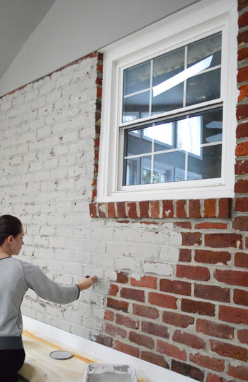 How to paint a brick wall and unify a choppy room young house love - Painting brickwork exterior ideas ...