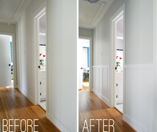 before and after of a plain hallway that was dressed up with do it yourself board and batten trim