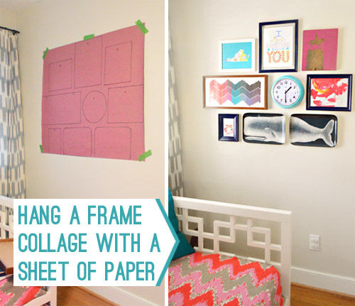 how to hang a frame collage with a sheet of paper