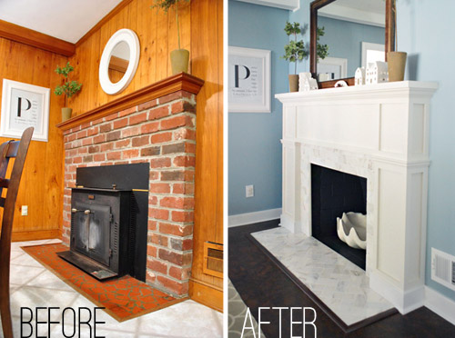 Since the painting step didn't cost us any extra money (we used supplies  that we already owned), the total cost for the project is just the addition  of the ... - Our $200 Fireplace Makeover (Marble Tile & A New Mantel) Young